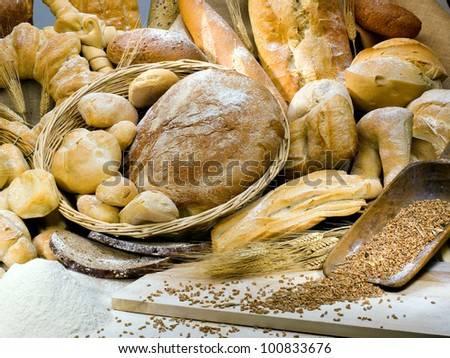 delicious variety of Italian bread - stock photo