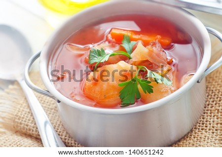 Delicious veal stew soup with meat and vegetables