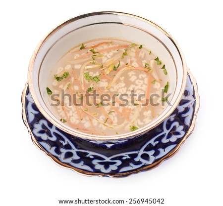Delicious veal stew soup with meat and vegetables - stock photo