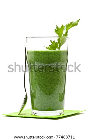 Delicious vegetable smoothie from spinach cucumber and banana - stock photo