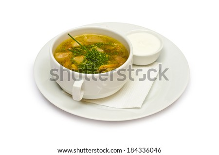 delicious vegetable soup with greens isolated on white background - stock photo