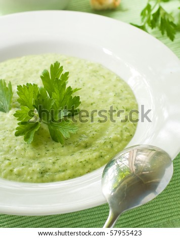 Delicious vegetable soup with potato, broccoli, green beans and parsley - stock photo