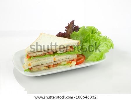 Delicious vegetables ham sandwich - stock photo