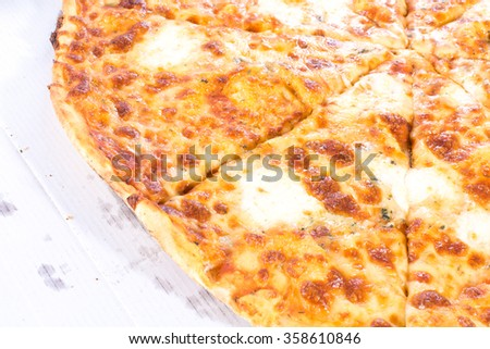 Delicious vegetarian pizza with box delivery - stock photo