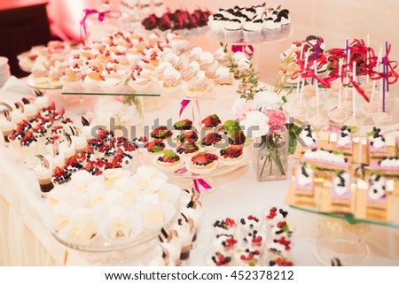 Delicious Wedding Reception Candy Bar Dessert Stock Photo ...