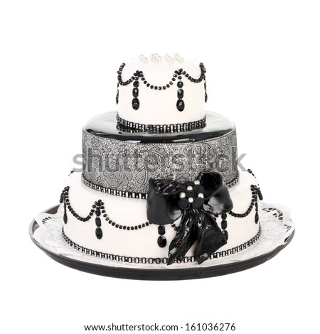 delicious white and black cake - stock photo