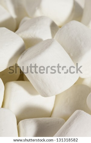 Delicious White Fluffy Round Marshmallows ready to eat
