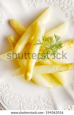 Delicious white steamed asparagus - stock photo