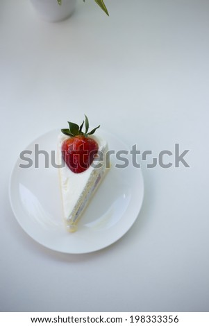 delicious white Strawberry  cake