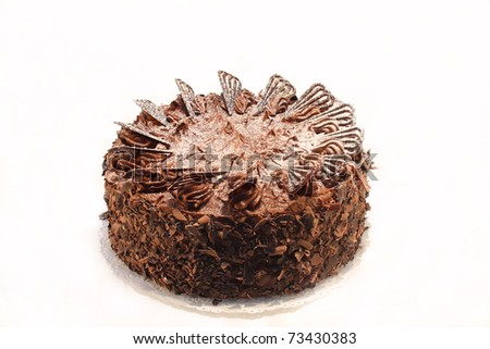 delicious whole homemade chocolate cake isolated on white - stock photo