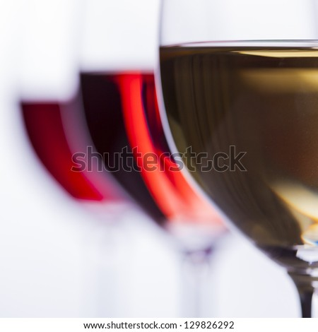 Delicious wines of all colors, focus on white wine - stock photo