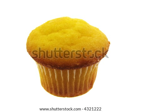 delicious yellow lemon muffin isolated on white - stock photo