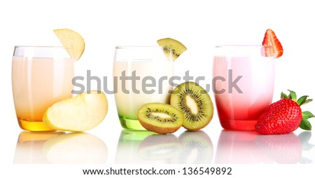 Delicious yogurts with fruits in glasses isolated on white
