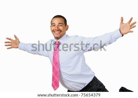 Delighted business man - stock photo