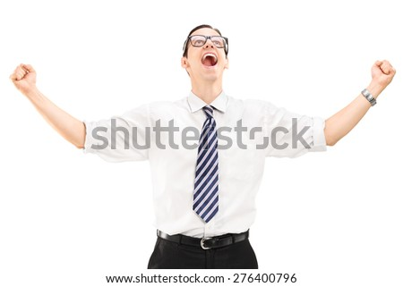 Delighted young businessman looking up isolated on white background - stock photo