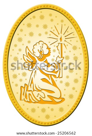 delightful gold coloured badge with a little golden angel