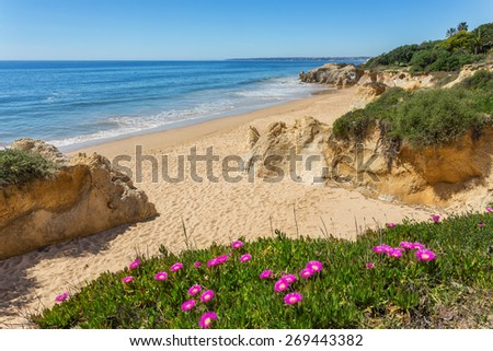 Delightful seascape coast spring Albufeira. Portugal for tourists. - stock photo