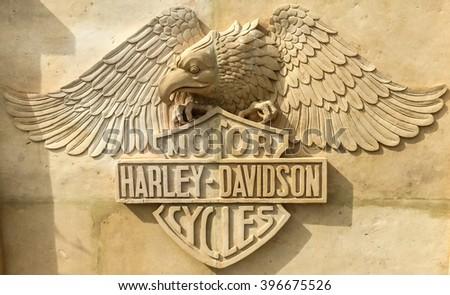 Delimara, Malta - March 26, 2016: The famous Harley-Davidson emblem sculptured in stone at a villa in Delimara - stock photo