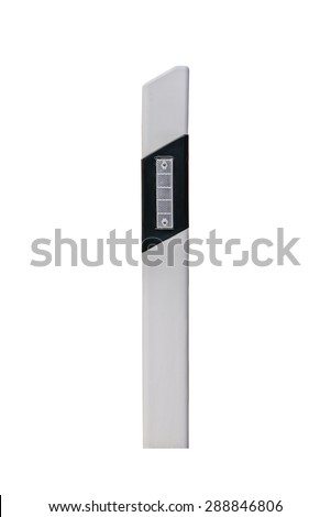 Delineator with warning reflector - stock photo