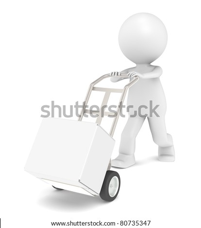 Deliver. 3D Little Human Character transporting a Box. - stock photo