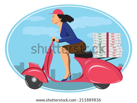 Deliver pizza on vintage scooter - stock photo