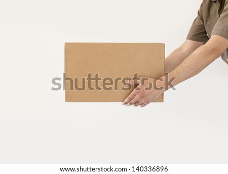 delivering a packet with white background - stock photo