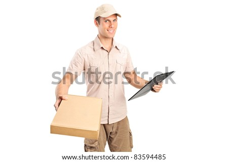 Delivery boy delivering a packet and holding a clipboard isolated on white background - stock photo