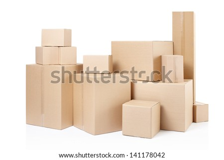 Delivery cardboard boxes isolated on white, clipping path - stock photo