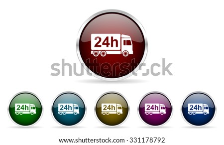 delivery colorful glossy circle web icons set