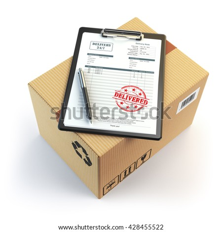 Delivery concept. Cardboard box, pen, clipboard with receiving form and stamp delivered isolated on white. 3d illustration - stock photo