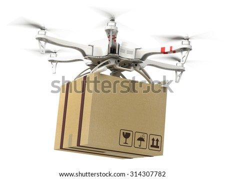 Delivery concept - Drone multi copter carrying carton box - stock photo