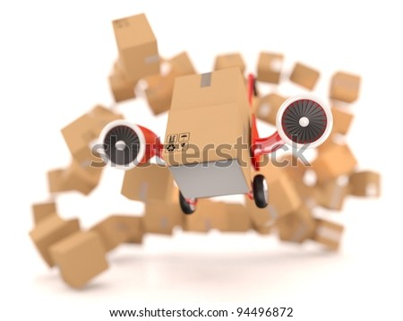 Delivery concept. Hand truck and cardboard boxes. - stock photo