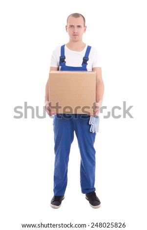 delivery concept - man in workwear with cardboard box isolated on white background