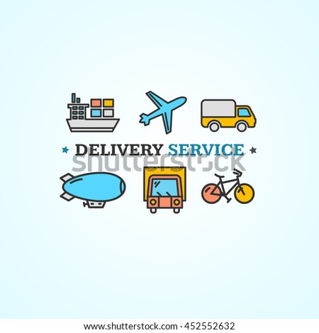 Delivery Concept with Transport Colorful Icons. illustration