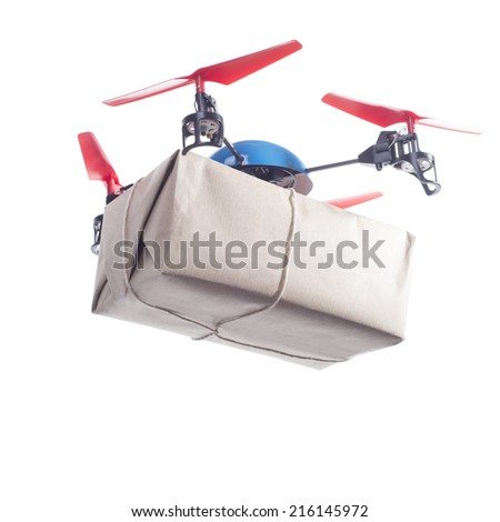 Delivery drone with packet flying. Same day delivery concept - stock photo