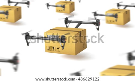 Delivery drone with post package for use in presentations, education manuals, design, etc. 3D illustration