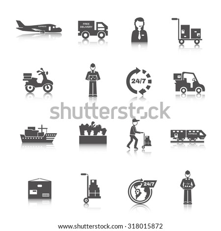 Delivery freight and transportation logistics icons black set isolated  illustration