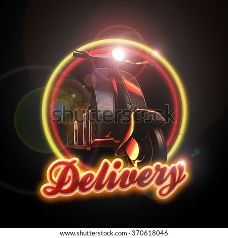 delivery luminous logotype sign