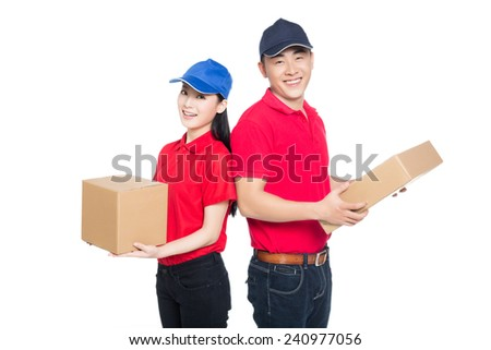 delivery mailman carrying cardboard box, white background. - stock photo