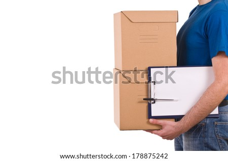 Delivery man. - stock photo