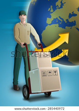 Delivery man carrying some packages on a trolley. Digital illustration. - stock photo