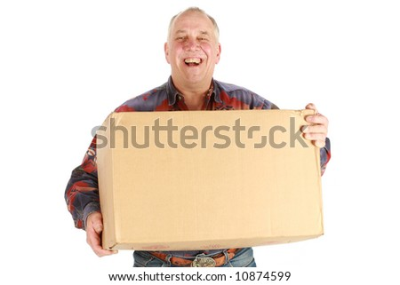 Delivery man holding big box on white background - stock photo