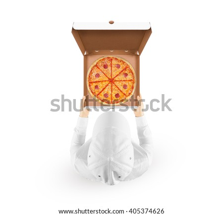 Delivery man holding pizza box mockup with tasty pizza in hand isolated on white, top view. Deliver guy in clear uniform hold opened box mock up. Food packaging template. Pizzeria identity branding - stock photo