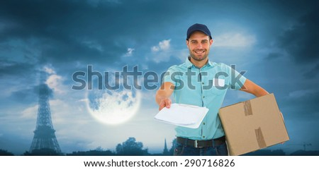Delivery man with package giving clipboard for signature against bright moon over paris - stock photo