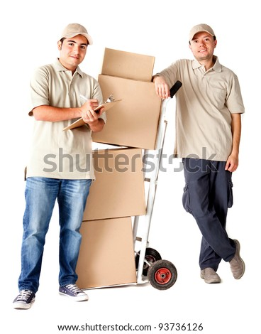 Delivery men carrying boxes with a trolley - isolated over a white background - stock photo
