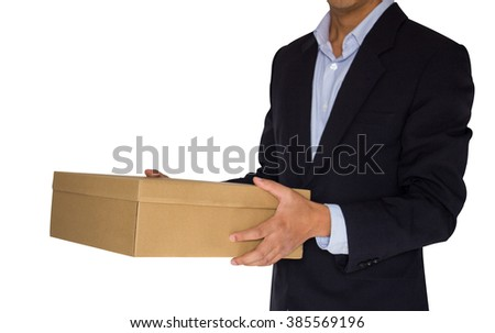 Delivery person delivering package. business and delivery service concept - stock photo