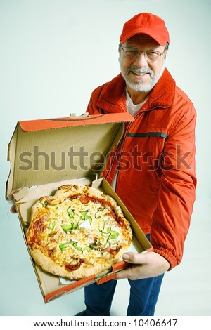 Delivery pizza in uniform - stock photo