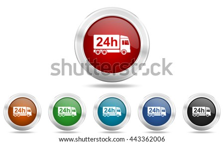 delivery round glossy icon set, colored circle metallic design internet buttons