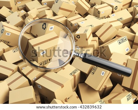 Delivery, shipping, logistics concept. Cardboard box tracking search. Loupe and boxes. 3d illustraion - stock photo