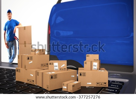 Delivery shopping online - stock photo
